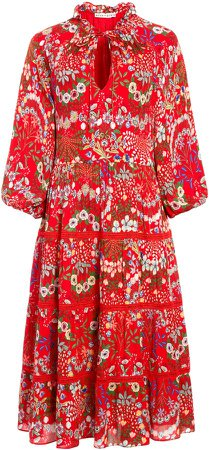 Layla Floral Ruffle Midi Dress