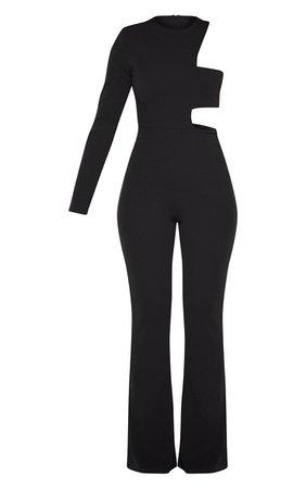 Black One Shoulder Flare Leg Jumpsuit | PrettyLittleThing