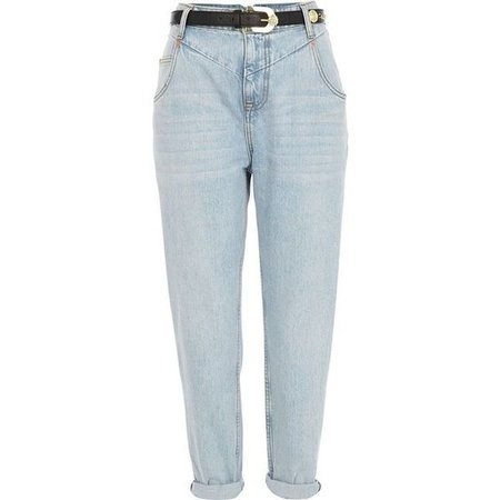 River Island light wash slim belted mom jeans