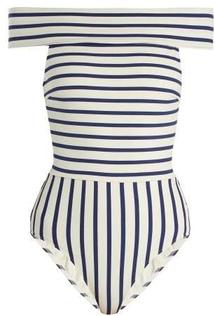 The Vera Off The Shoulder Striped Swimsuit - Womens - Navy Stripe
