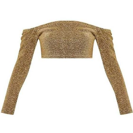 Krystle Gold Metallic Longsleeve Crop Top