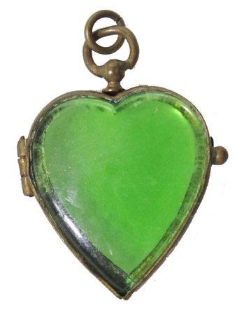 Green heart glass pendant