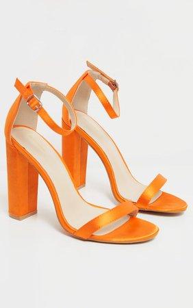 Orange Satin May Block Heel Sandal | Shoes | PrettyLittleThing