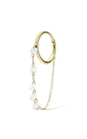 18k Yellow Gold Chain Diamonds Earring By Persée | Moda Operandi