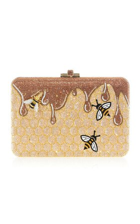Judith Leiber Couture Honeycomb Crystal Novelty Clutch