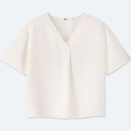 Women's Drape V-Neck Short-sleeve Blouse