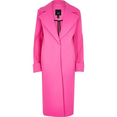 Bright pink single breasted longline coat | River Island