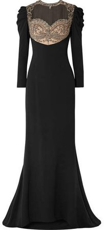 Reem Acra - Embellished Tulle And Silk-cady Gown - Black