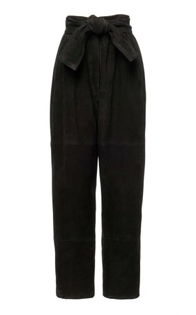 ZIMMERMANN Espionage High-Waisted Cropped Suede Straight-Leg Pants