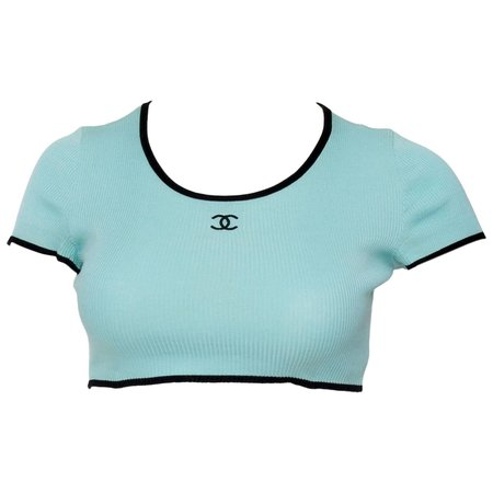 chanel turquoise crop top