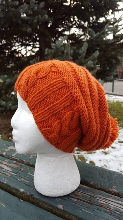 Fall hat Halloween hat Orange Slouchy hat with pom pom | Etsy