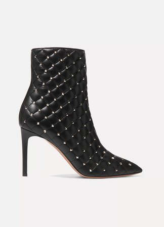 Garavani The Rockstud Quilted Leather Ankle Boots - Black