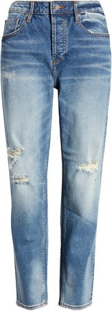 Frankie High Waist Distressed Ankle Straight Leg Jeans