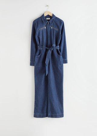 Organic Cotton Denim Jumpsuit - Mid Blue - Jumpsuits & Playsuits - & Other Stories