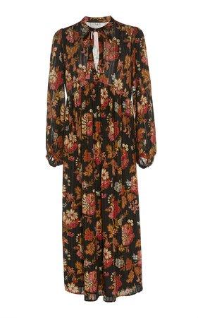 Floral Plisse Maxi Dress