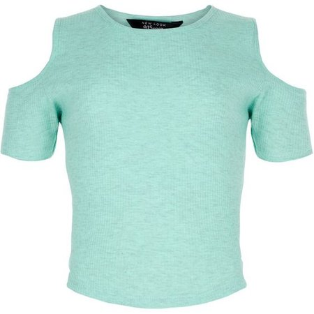 Mint Green Ribbed Cold Shoulder T-Shirt