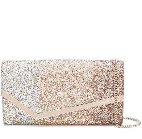Emmie degradé glitter-embellished clutch