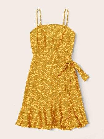 Allover Print Tie Side Ruffle Trim Wrap Hem Cami Dress   SHEIN USA