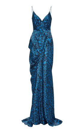 Zac Posen Floral-Patterned Sleeveless Maxi Gown