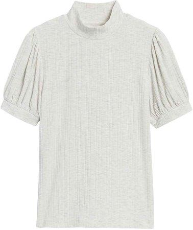 Ribbed Puff-Sleeve T-Shirt