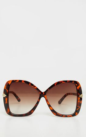 Tortoiseshell Oversized Angled Square Sunglasses - New In This Week - New In | PrettyLittleThing USA