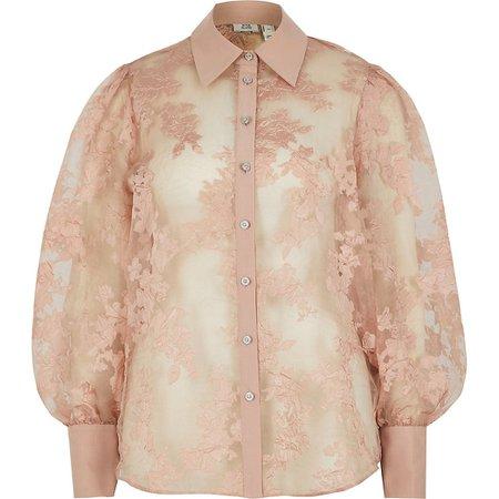 Light pink floral organza sheer shirt   River Island