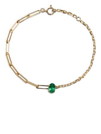 Yvonne Léon 18K Yellow Gold Emerald Bracelet - Farfetch