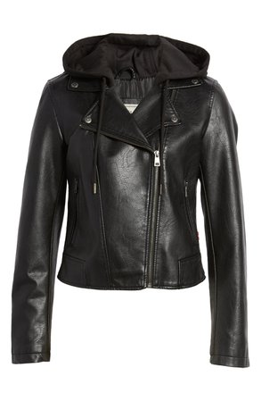 Levi's® Fleece Hood Faux Leather Moto Jacket | Nordstrom