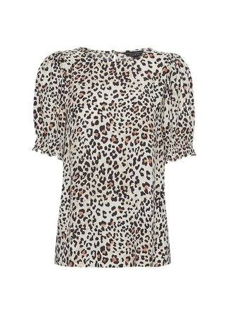 Neutral Animal Print Shirred Cuff T-Shirt   Dorothy Perkins