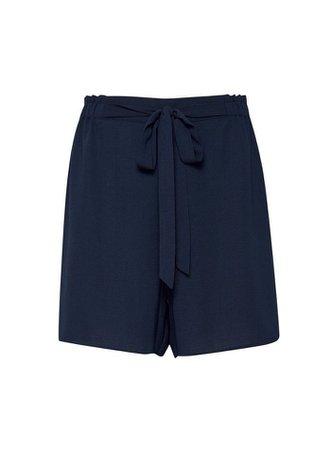 Navy Paperbag Shorts | Dorothy Perkins