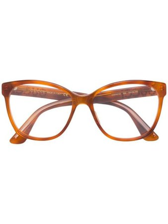 Orange Gucci Eyewear crystal-embellished square-frame glasses - Farfetch