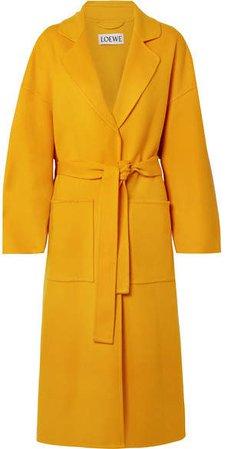 Oversized Belted Wool And Cashmere-blend Coat - Saffron