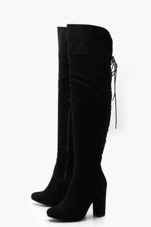 Lace Back Block Heel Over The Knee Boots | Boohoo