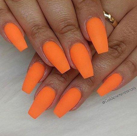 Orange Coffin Nails
