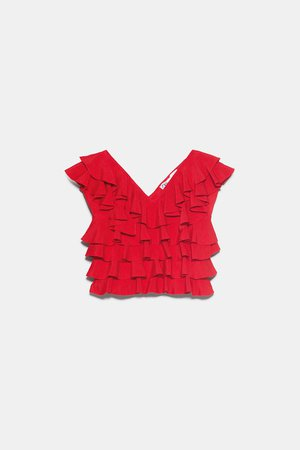 RUFFLED KNIT TOP | ZARA United States red