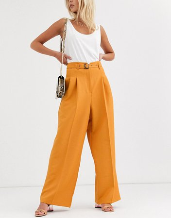 ASOS DESIGN belted pleat front wide leg trousers | ASOS