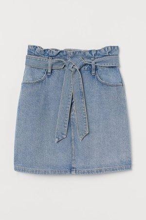 Paper-bag Skirt - Light denim blue - Ladies | H&M US