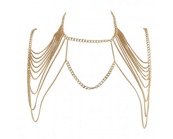 Gold Tone Chain SwagBra Body Jewelry