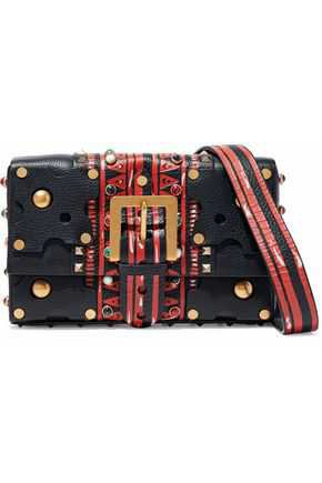 Studded printed textured-leather shoulder bag | VALENTINO | Sale up to 70% off | THE OUTNET