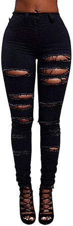 ZongSen Women's High Waisted Stretchy Distressed Jeans Skinny Denim Pants Cut Out Ripped Trousers Jeggings Punk Pants Pencil Pants Black S: Amazon.co.uk: Clothing