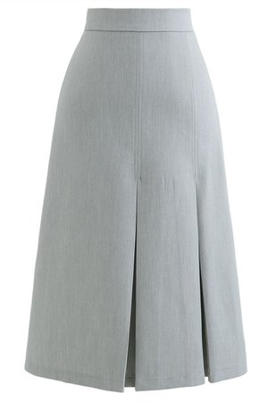 Pleated Hem Split Midi Skirt in Grey - Retro, Indie and Unique Fashion