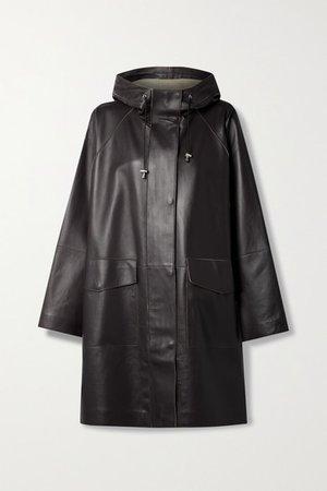 Dahlia Oversized Hooded Leather Coat - Dark brown