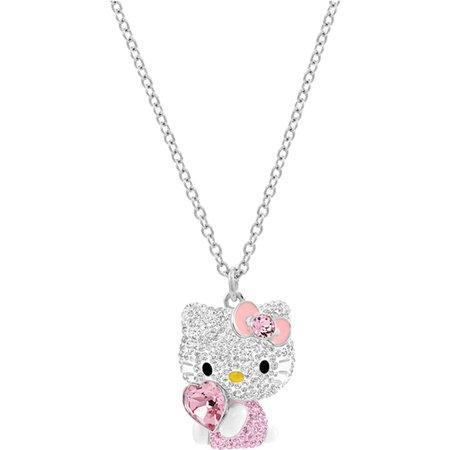 Hello Kitty Heart Pendant, Multi-colored, Rhodium plating exclusively on Swarovski.com