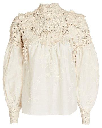 Ulla Johnson Theodora Crochet-Trimmed Blouse | INTERMIX®