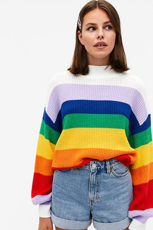 Crew neck knit sweater - Rainbow and white stripes - Jumpers - Monki WW