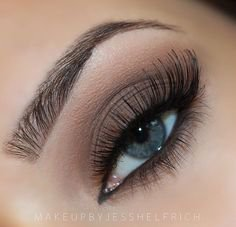 Light grey shadow and long lashes accentuate blue eyes | Light blue eyes, Grey eye makeup, Eyeshadow for blue eyes