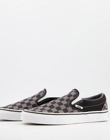 Vans UA Classic Slip on checkerboard sneakers in black | ASOS