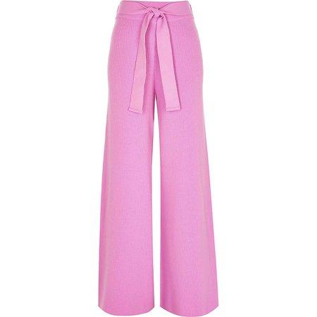 Pink loungewear wide leg knit trousers | River Island