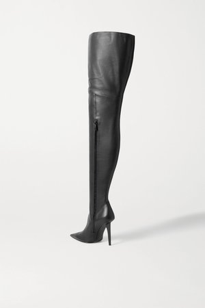 Black Knife Shark leather over-the-knee boots | Balenciaga | NET-A-PORTER