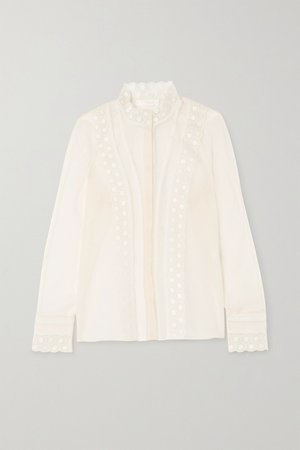 Ivory Embroidered silk-organza blouse   Chloé   NET-A-PORTER
